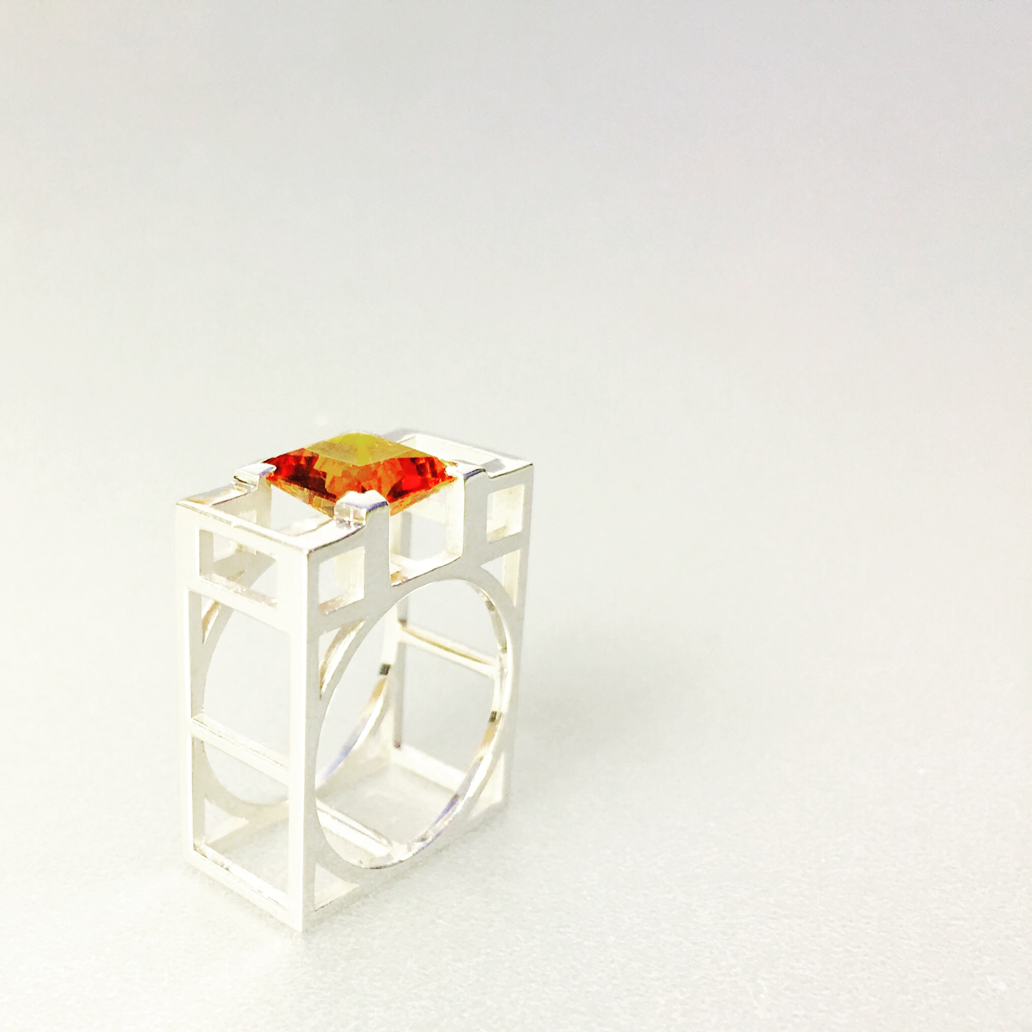 ring - silver and citrine